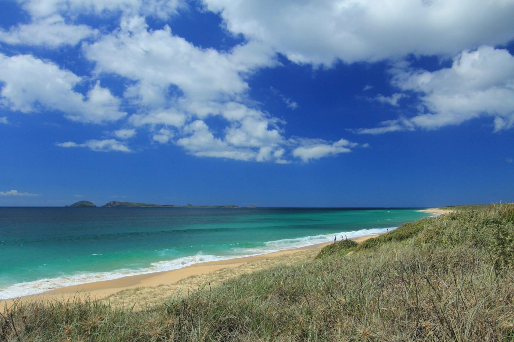 Wide angle photo of beach while camping at Myall Lakes