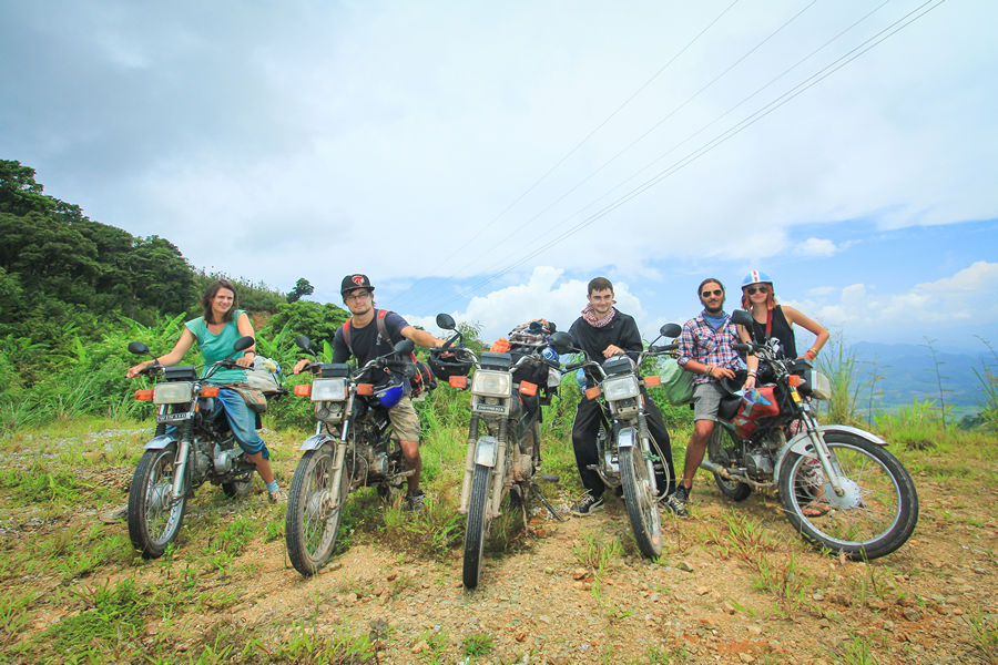 ho chi minh trail by motorbike group shot
