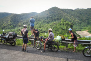 ho chi minh trail by motorbike road side stop