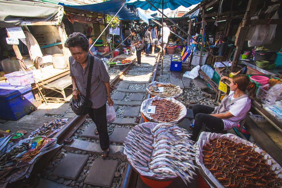 Walking through the Maeklong Railway Market