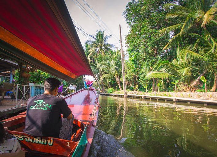 Riding longtail boat in Thonburi Klongs