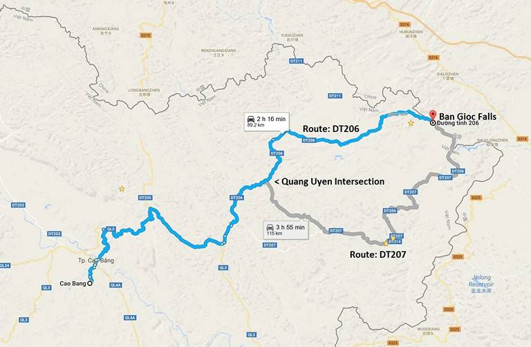 Ban Gioc Waterfall Motorbike Routes