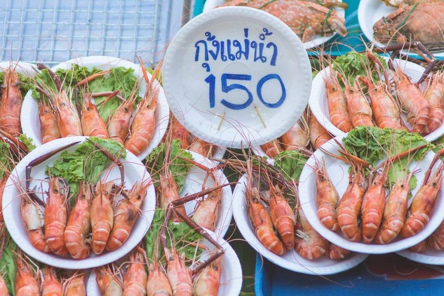 seafood at amphawa floating market