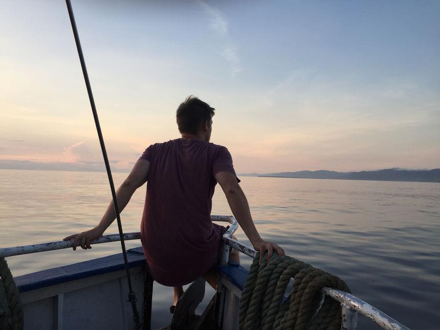 Sunrise on the cargo boat
