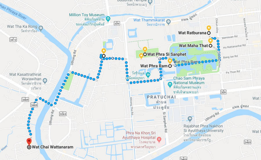 Ayutthaya Temple Map