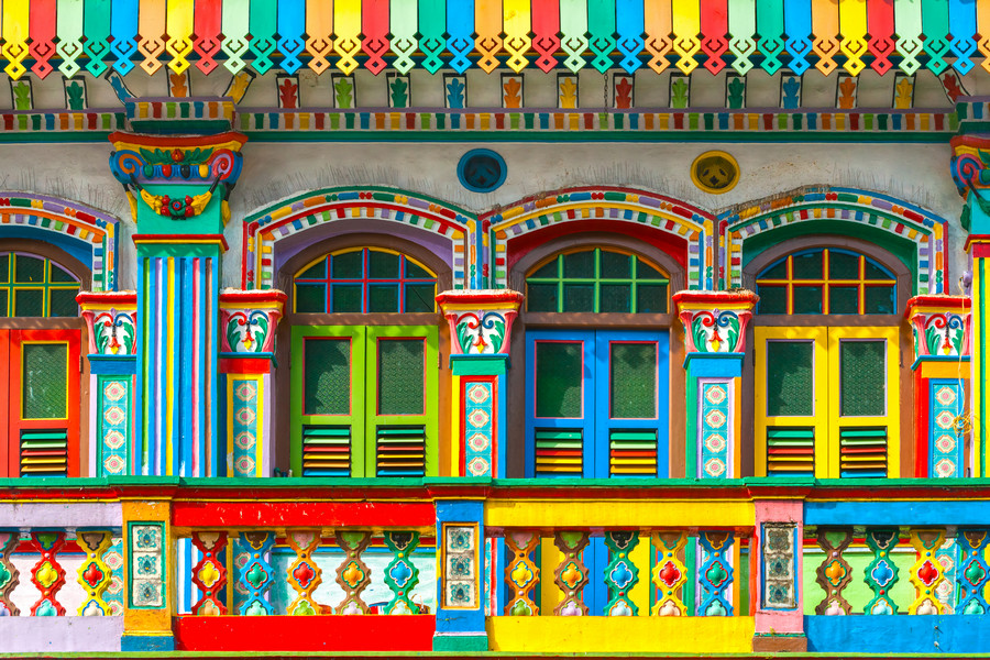 Colourful Buildings in Singapore's Little India
