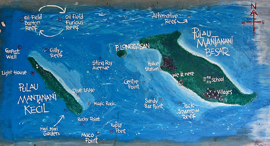 Mantanani Island Dive Map